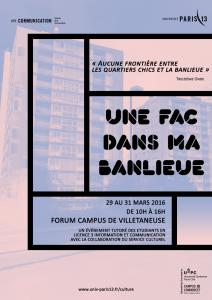 """Affiche de l'exposition """"Une fac dans ma banlieue"""""""